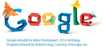 Google doodle for Akira Yoshizawa's 101st birthday. Origami artwork by Robert Lang. Courtesy of Google, Inc.